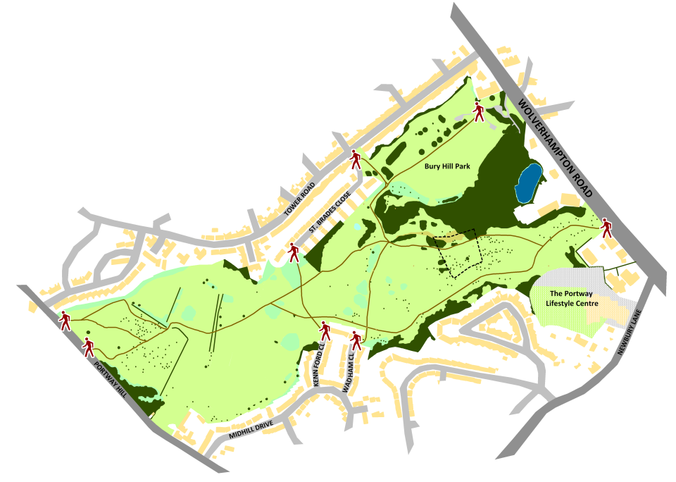Rowley Hills map showing paths and access points