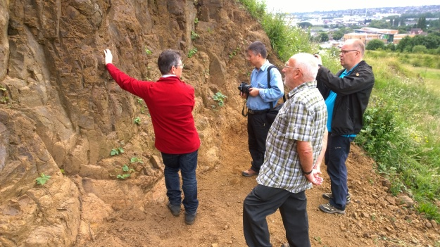 UNESCO Scrutineers Jari Nenonen from Finland and Jin  Xiaochi from China visit Portway Hill  (image © Mike Poulton)