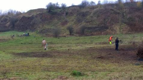 Volunteers strimming and removing debris (image © Mike Poulton)