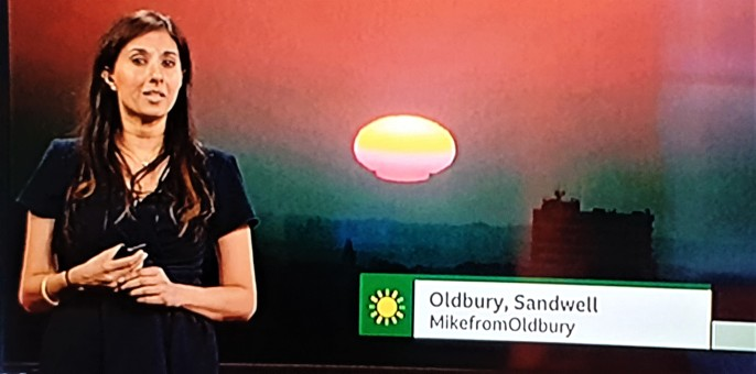 Rowley Hills sunrise on BBC lunchtime weather report (image © Mike Siviter)